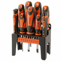 21pc Screwdriver & Bit Set with Stand (soft grip handles)