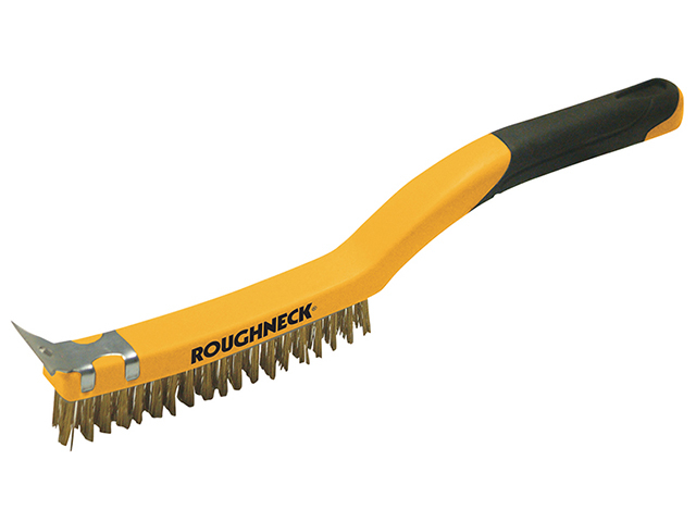 Steel Wire Brush Soft Grip 350mm with scraper
