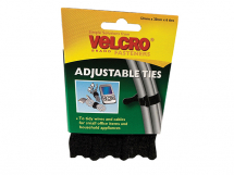 VELCRO Adjustable Ties (6) 12mm x 20cm Black